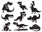 Dinosaurs vector dino silhouette animal tyrannosaurus t-rex danger creature force wild jurassic predator prehistoric extinct illustration