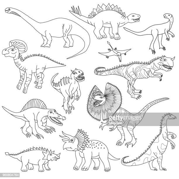 dinosaurs vector doodles - hadrosaurid stock illustrations, clip art, cartoons, & icons