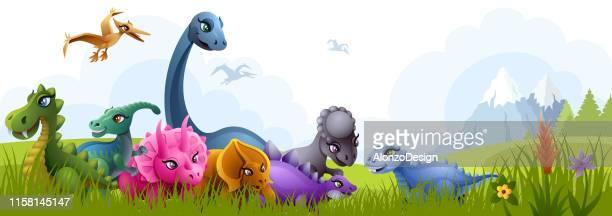 dinosaurs - prehistoric era stock illustrations