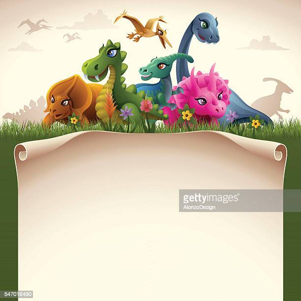 dinosaurs with paper scroll - paper scroll stock illustrations, clip art, cartoons, & icons