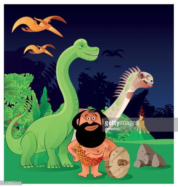 dinosour - paleolitico stock illustrations