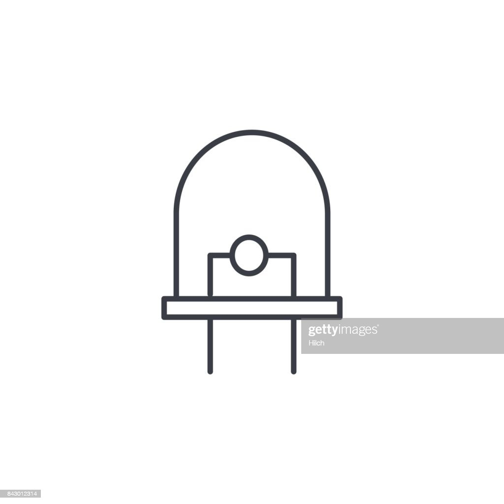 Diode Led Bulb Thin Line Icon Linear Vector Symbol Vector Art ...