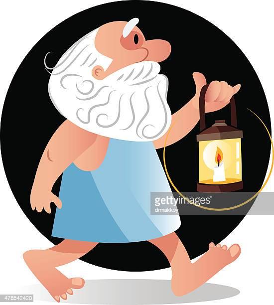 ilustraciones, imágenes clip art, dibujos animados e iconos de stock de diógenes - filosofos griegos