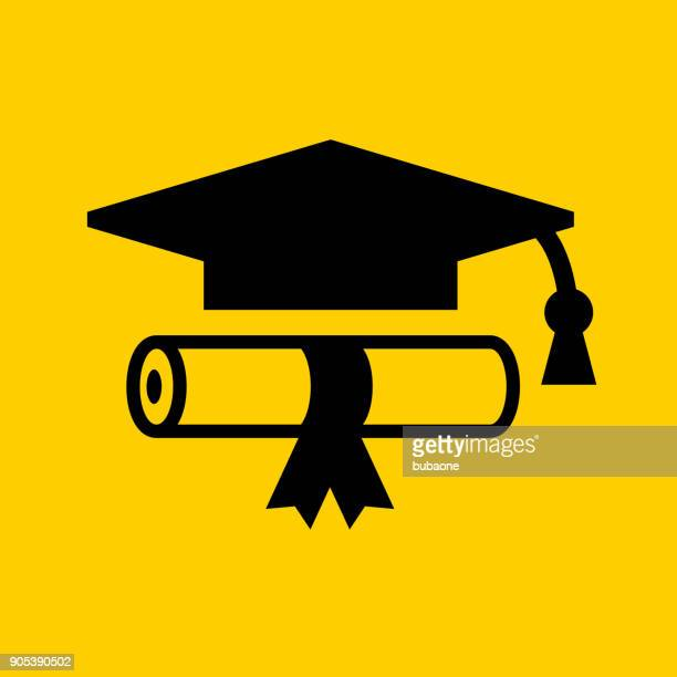 diploma and graduation hat. - yellow hat stock illustrations