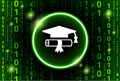 Diploma and Hat Binary Code Vector Pattern Background