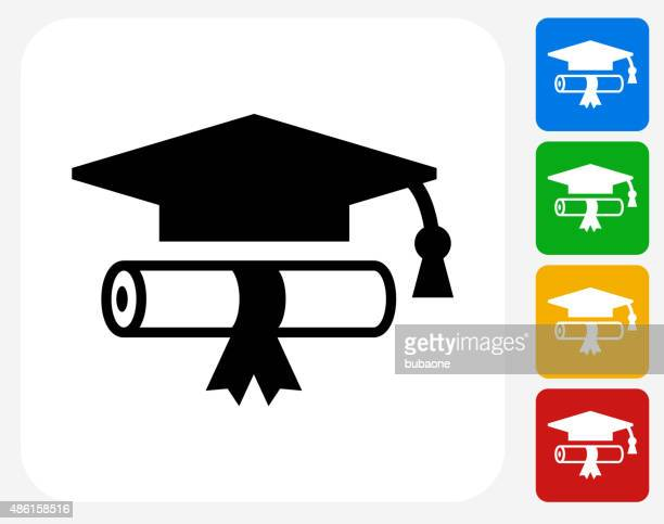 diploma and hat icon flat graphic design - diploma stock illustrations