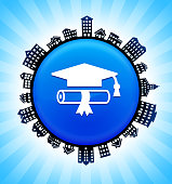 Diploma and Hat on Rural Cityscape Skyline Background