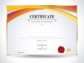 Diploma certificate template design with internation print scale