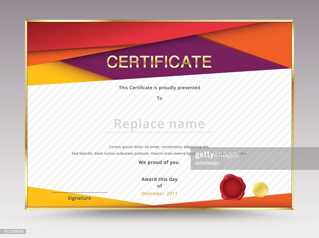 Diploma Certificate Template Design With International Print Scale
