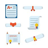 Diploma Certificate Vector Icons
