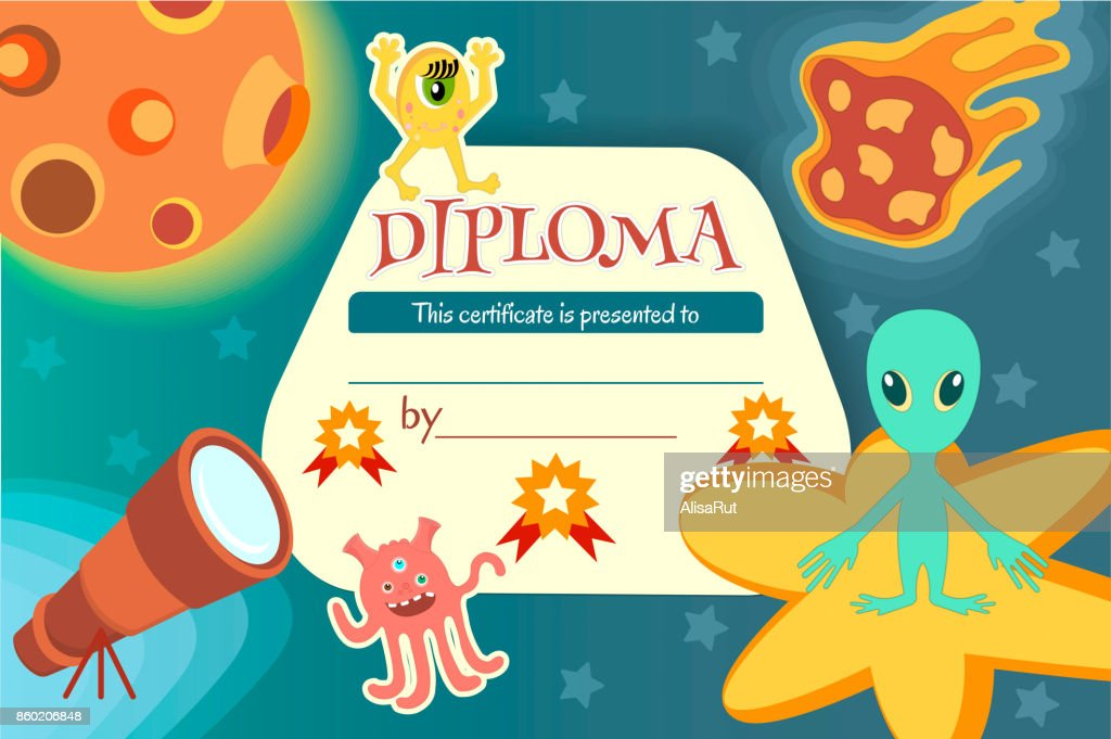 Diploma for a teaching game or a children's competition on the theme of space and extraterrestrial civilizations.