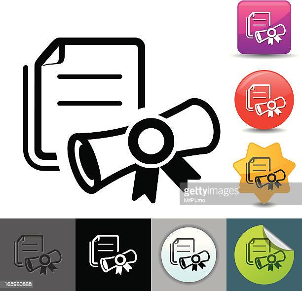 diploma icon   solicosi series - legal document stock illustrations, clip art, cartoons, & icons