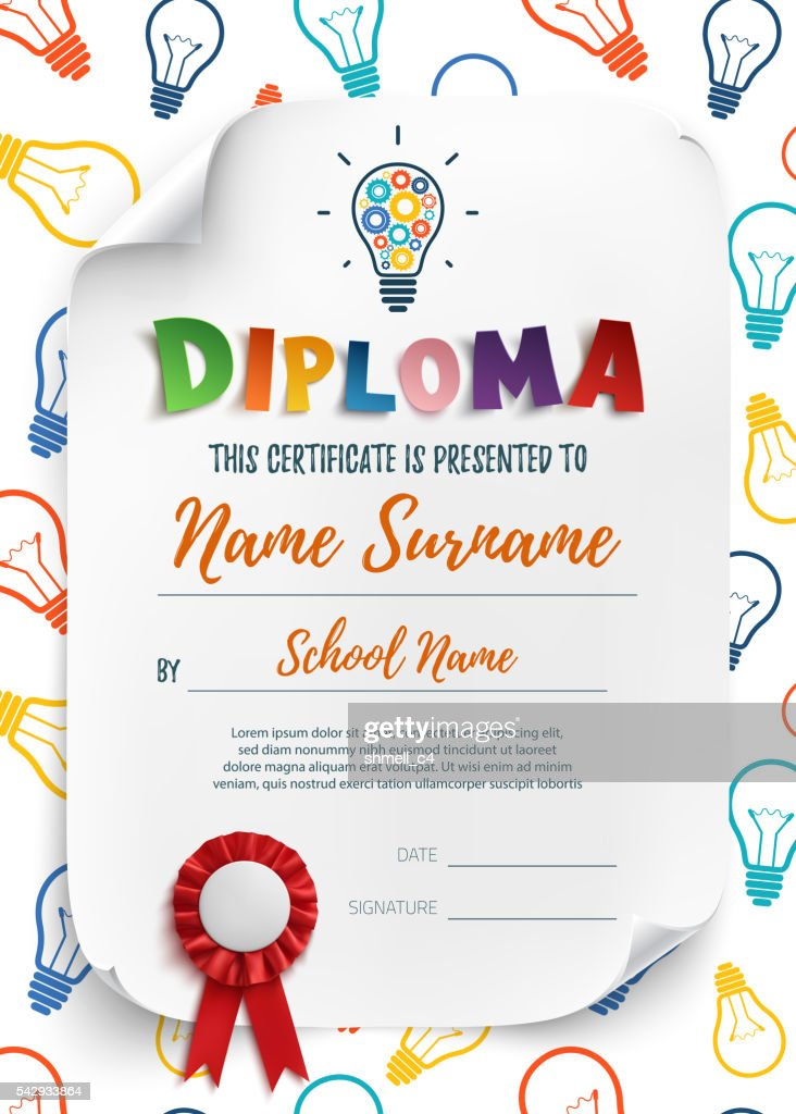 Diploma template with colorful light bulbs.