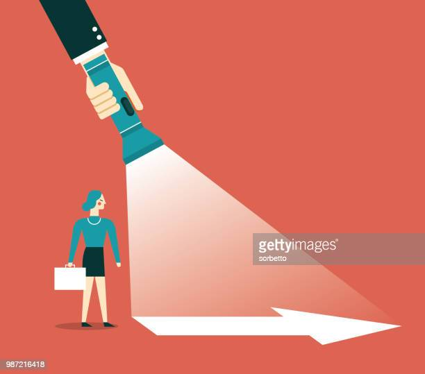 illustrazioni stock, clip art, cartoni animati e icone di tendenza di direction - businesswoman - fare da guida