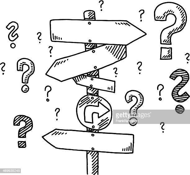 ilustraciones, imágenes clip art, dibujos animados e iconos de stock de dirección signo de interrogación de dibujo - signos de interrogacion