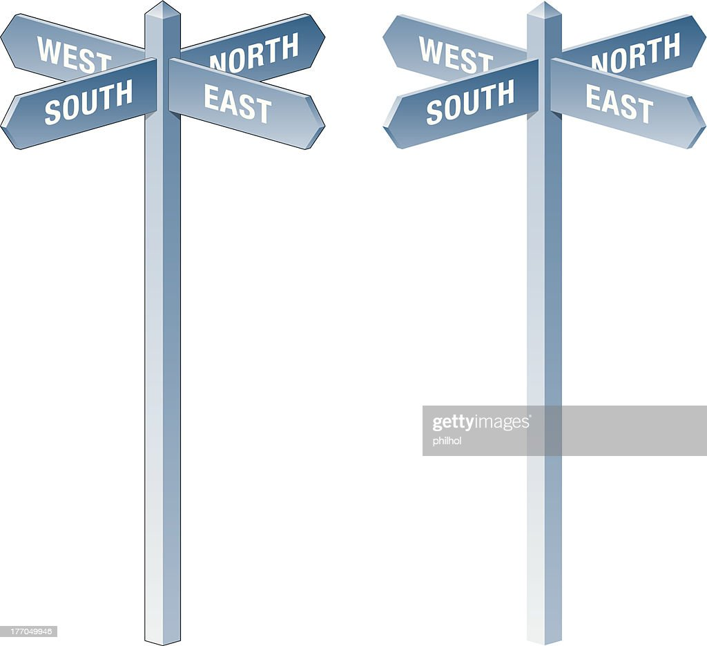 direction signpost north south east west vector art getty images