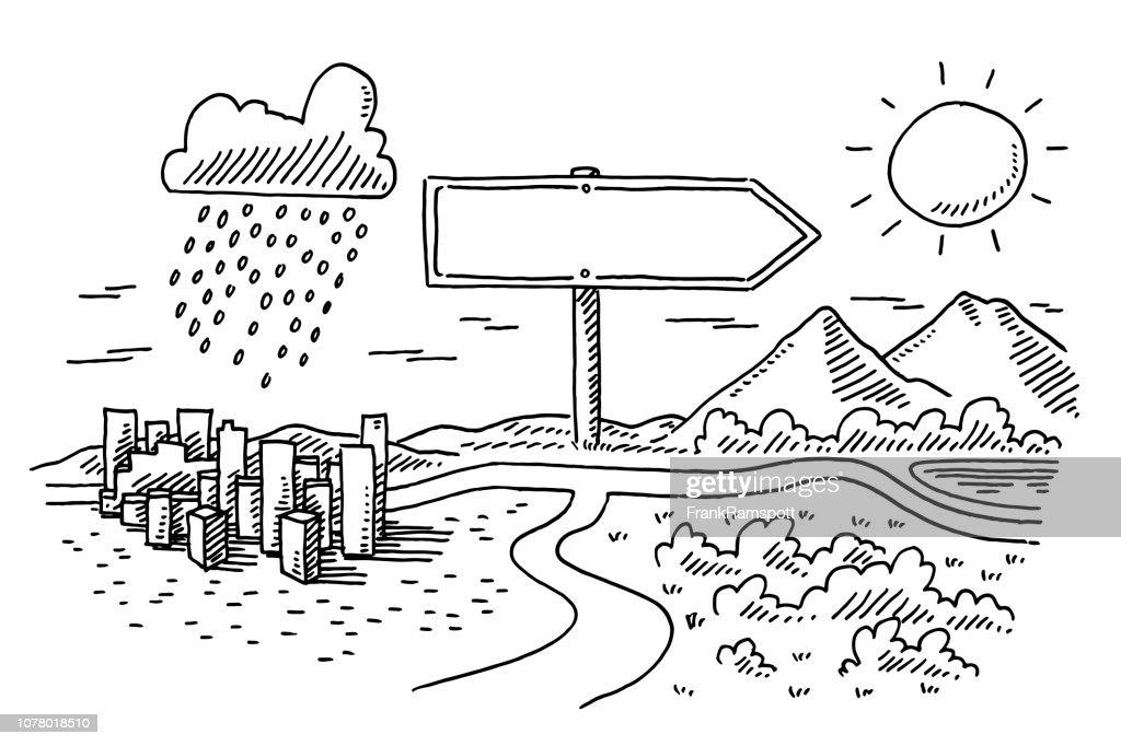 Richtungsanzeiger Positive und Negative Option Zeichnung : Vektorgrafik