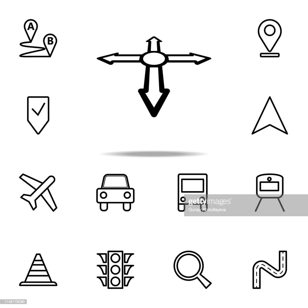 directions in the navigator icon. Navigation icons universal set for web and mobile