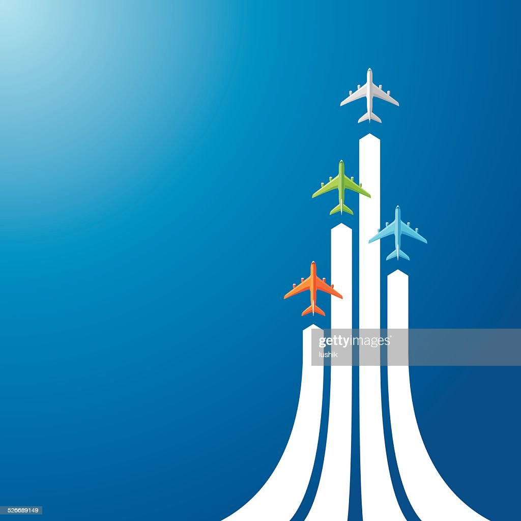 Directly above four airliner : stock illustration