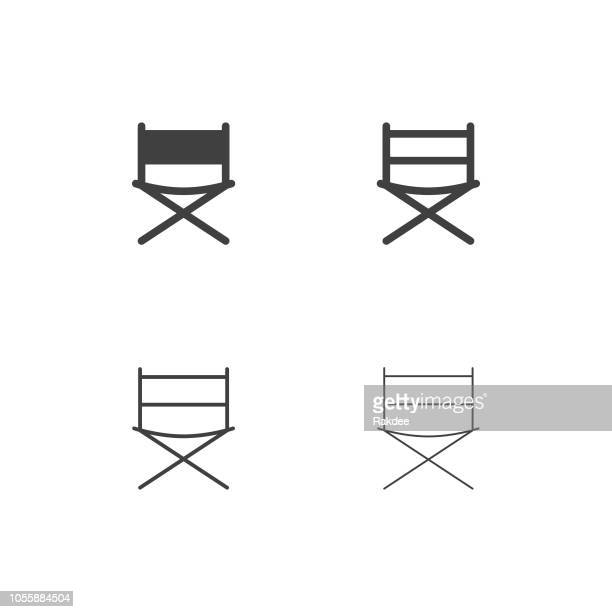 director chair icons - multi series - chairperson stock illustrations