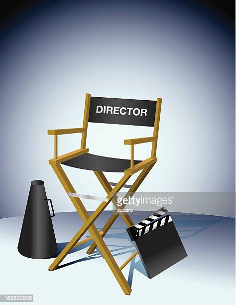 director chair movie slate megaphone - director stock illustrations
