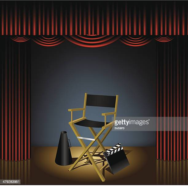 director chair on stage - director stock illustrations