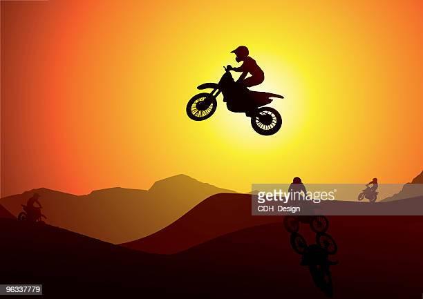 ilustraciones, imágenes clip art, dibujos animados e iconos de stock de suciedad salto de bicicleta de - motocross