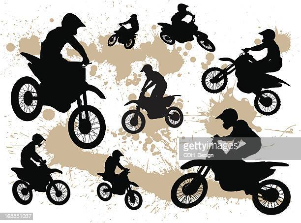 dirt bike silhouettes - motocross stock illustrations, clip art, cartoons, & icons
