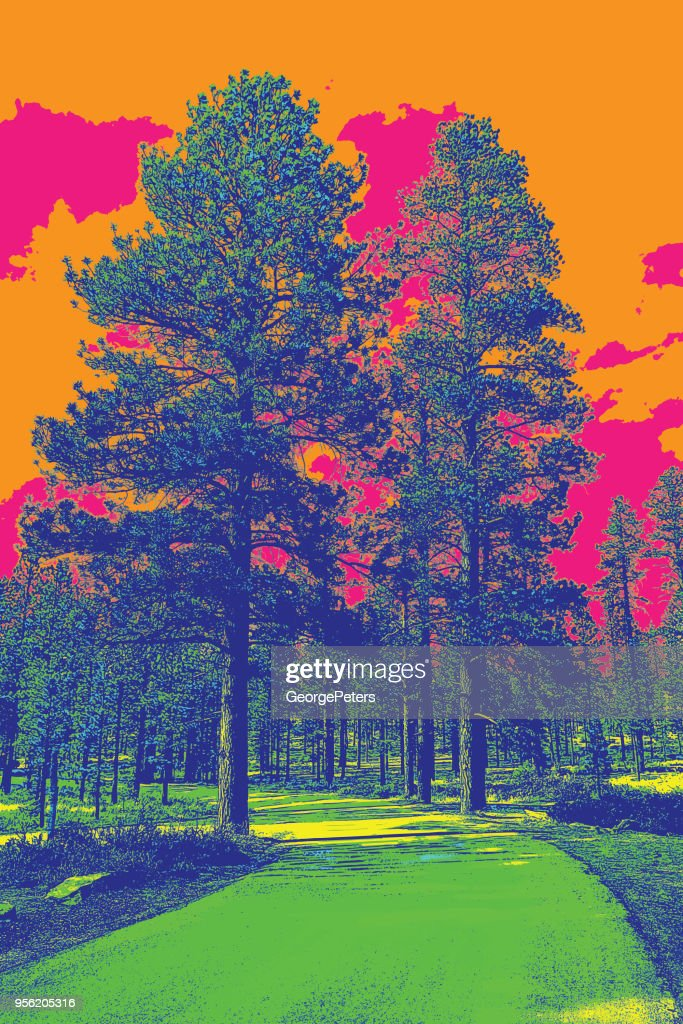 Dirt Road with Ponderosa Pines. Bryce Canyon National Park. : stock illustration