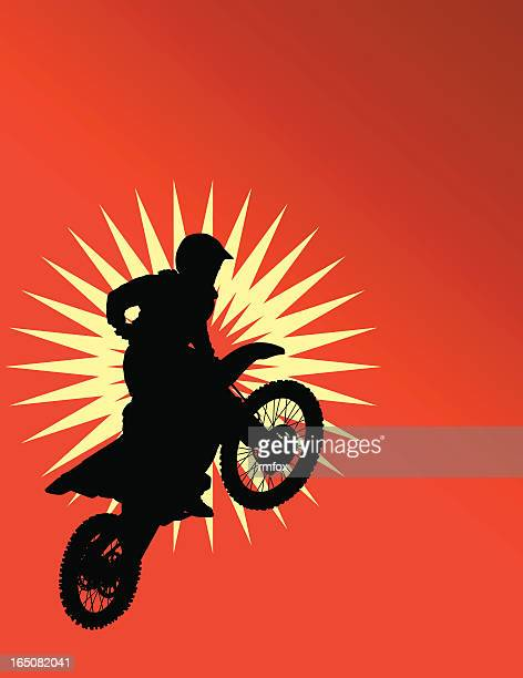 dirtbike silhouette - motocross stock illustrations, clip art, cartoons, & icons