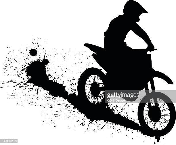 dirtbike ~ vector - skidding stock illustrations, clip art, cartoons, & icons