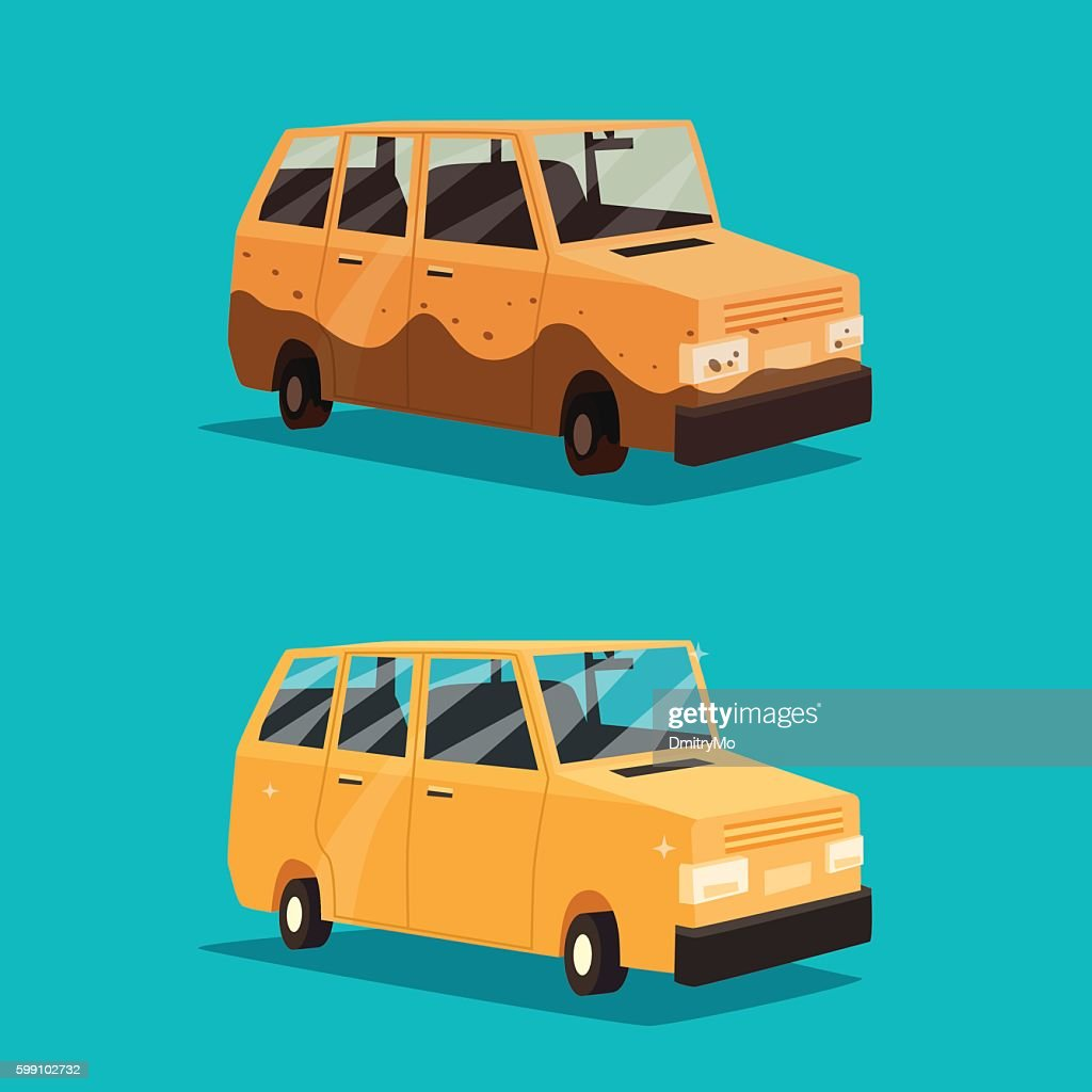 Dirty and clean car. American automobile. Cartoon vector illustration