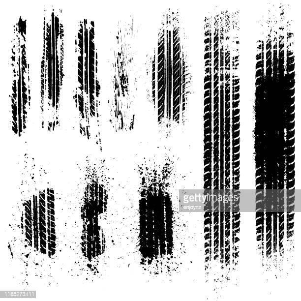 ilustrações, clipart, desenhos animados e ícones de o pneu sujo segue a ilustração conservada em estoque - skidding