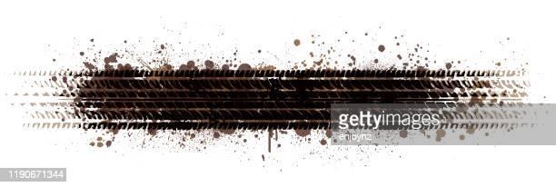 schmutzige reifenspuren lager-illustration - schlamm stock-grafiken, -clipart, -cartoons und -symbole