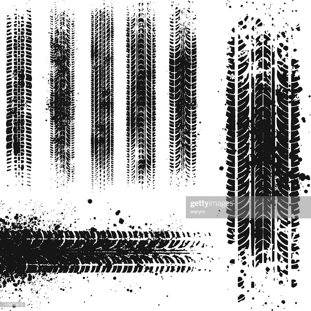 Dirty tyre tracks : stock illustration