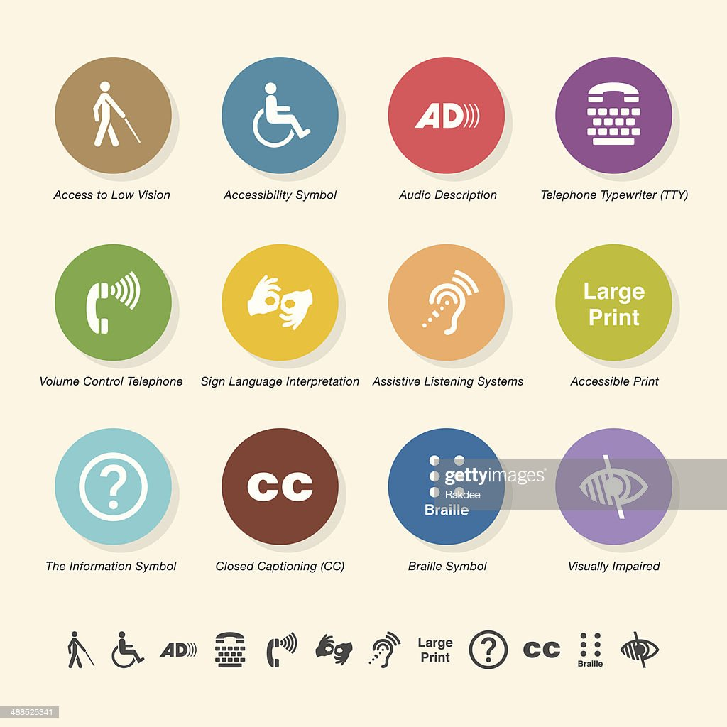 Disability Access Icons - Color Circle Series : Stock Illustration