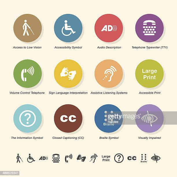 disability access icons - color circle series - sign language stock illustrations, clip art, cartoons, & icons