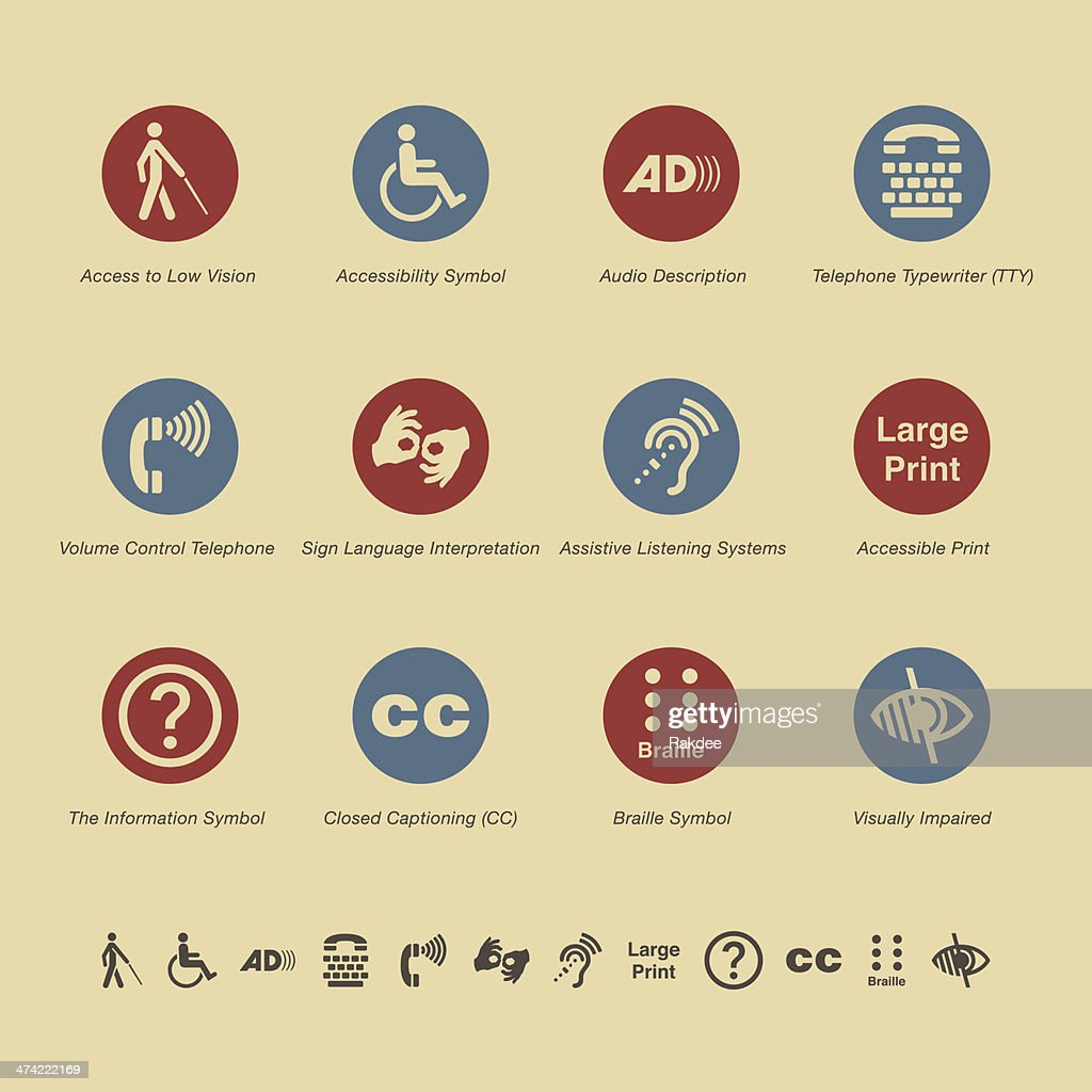 Disability Access Icons - Color Series