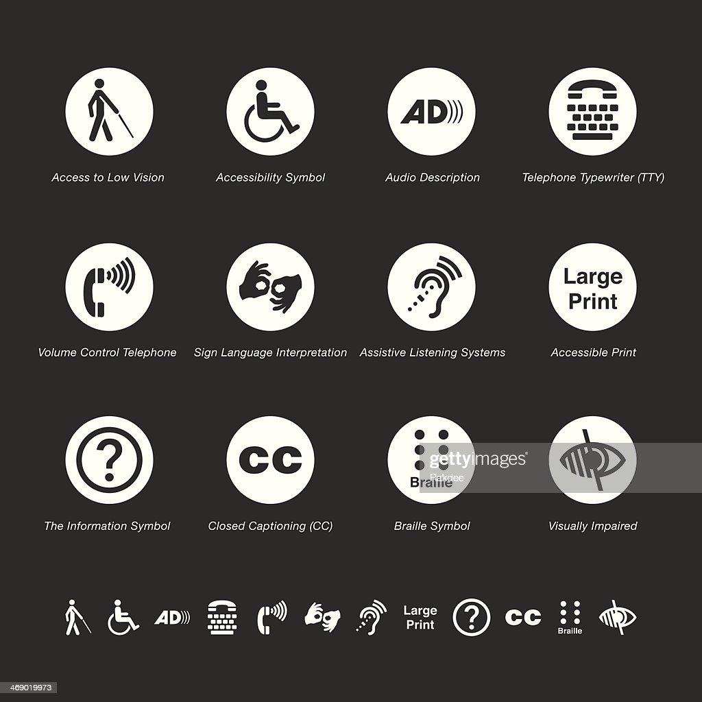 Disability Access Icons - White Series : stock illustration