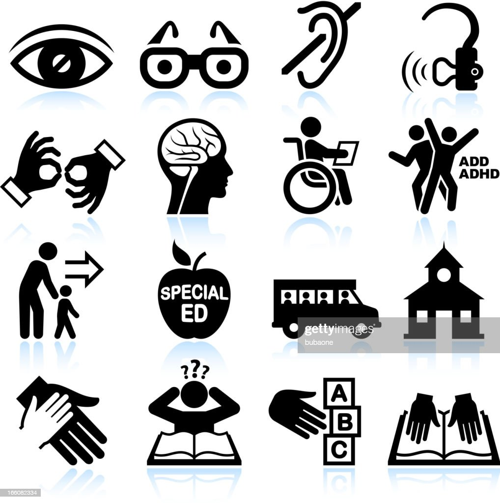 Disability and Special education black & white vector icon set