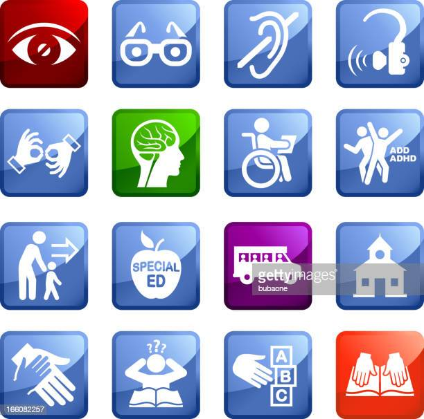 disability and special education royalty free vector icon set stickers - hearing aid stock illustrations, clip art, cartoons, & icons