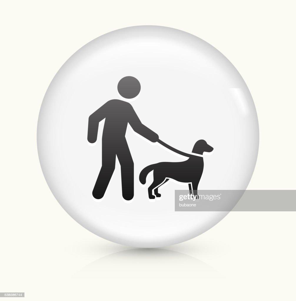 Disability Dog icon on white round vector button : stock illustration
