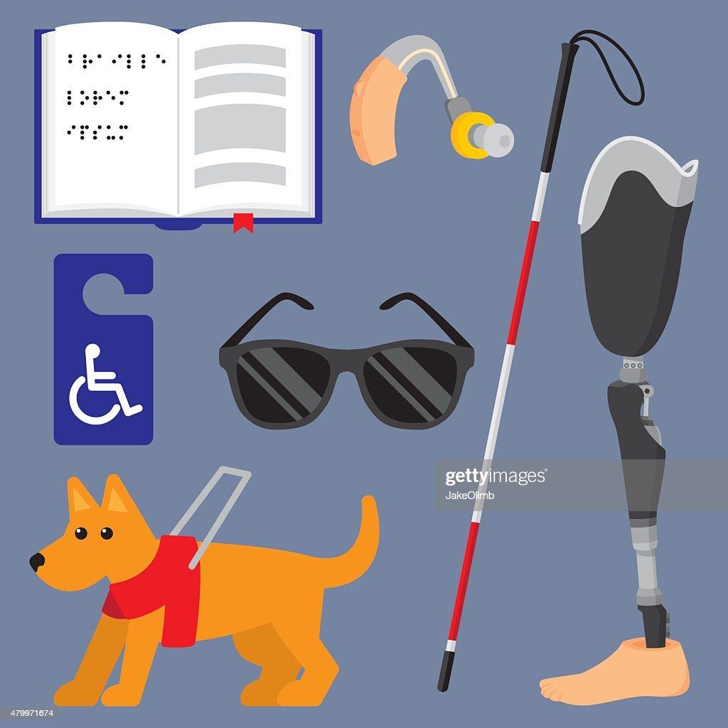 Disability Items Flat Set : stock illustration