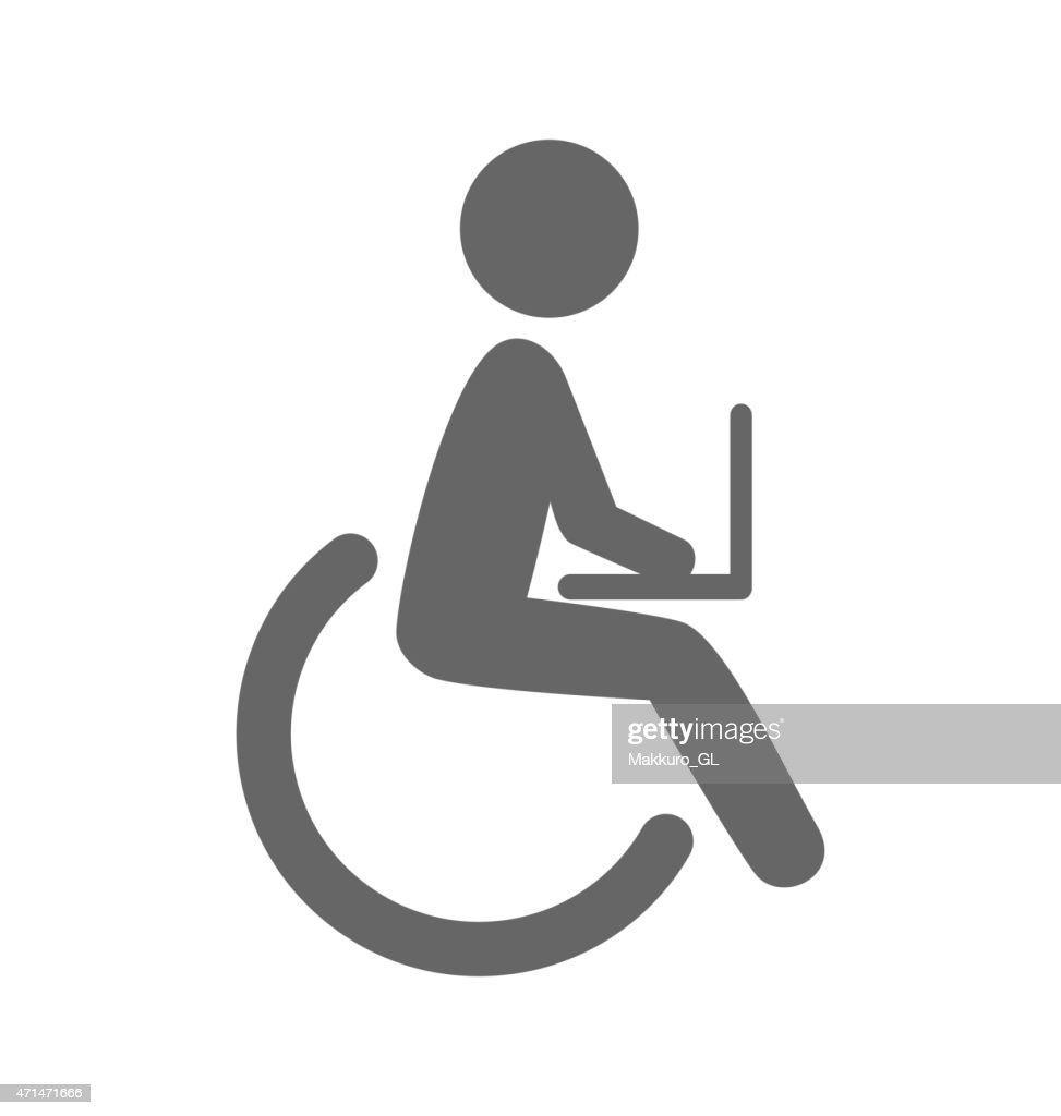 Disability man with notebook pictogram flat icon isolated