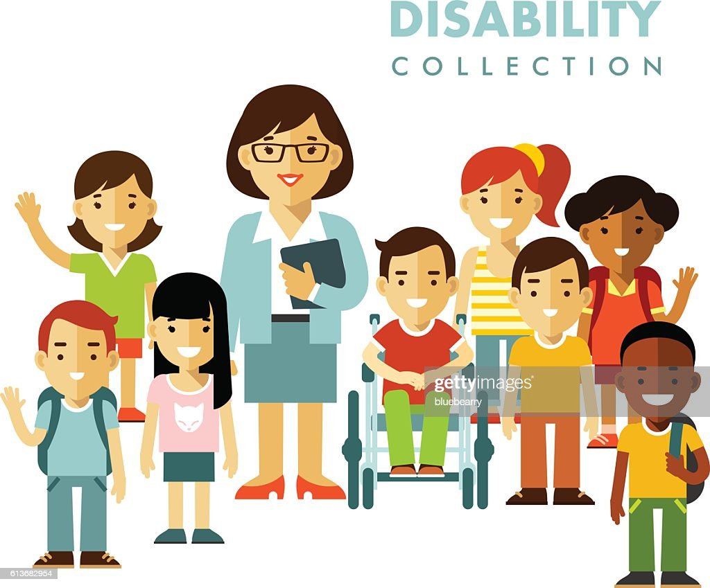 Disability school children friendship concept