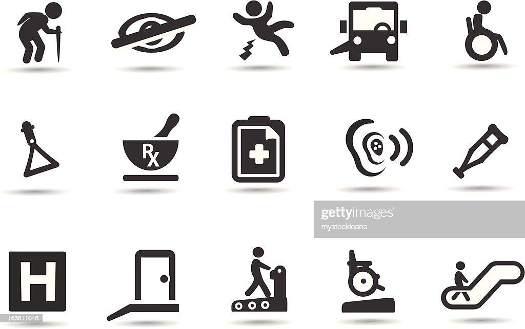 Discapacidad símbolos : Ilustración de stock