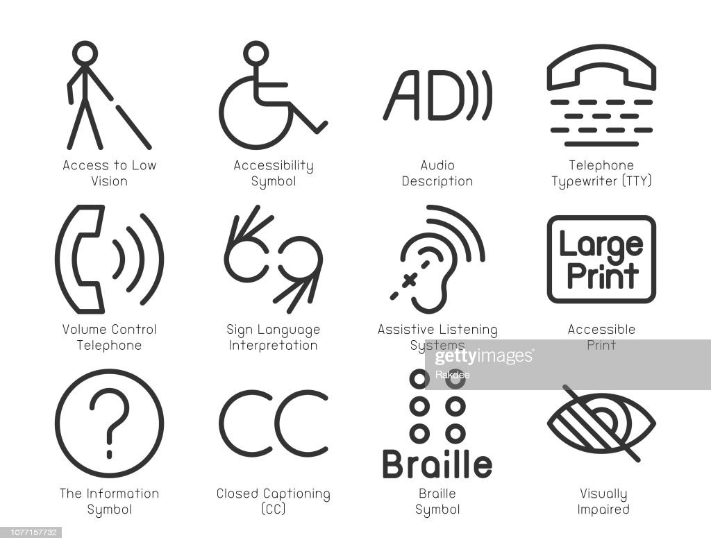 Disabled Accessibility Icons - Light Line Series : stock illustration