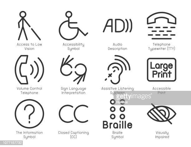 disabled accessibility icons - light line series - patience stock illustrations