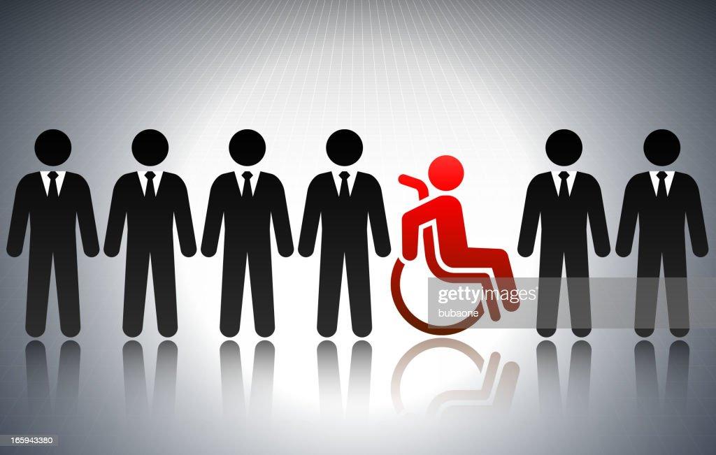 Concepto de negocio de barra cifras para personas con discapacidades : Ilustración de stock