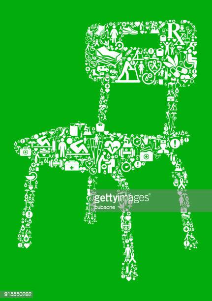 disabled chair  green medical rehabilitation physical therapy - work romance stock illustrations, clip art, cartoons, & icons